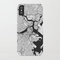 boston map iPhone & iPod Cases featuring Boston Map Gray by City Art Posters