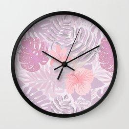 My Pink Abstract Aloha Flower Jungle Garden Wall Clock