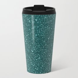 Deep Aqua BlueTurquoise Glitter Travel Mug
