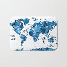world map color splatter blue Bath Mat