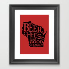 Red and Black Beer, Cheese and Good Company Wisconsin Graphic Framed Art Print