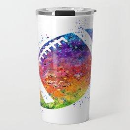 American Football Ball Art Sports Gift Rugby Ball Colorful Watercolor Art Gift Travel Mug