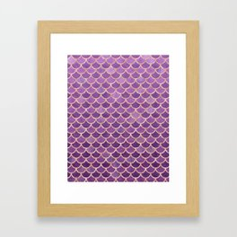 Mermaid Scales Pattern in Purple and Rose Gold Framed Art Print