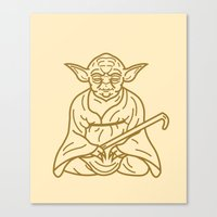 buddhism Canvas Prints featuring Yoda by Roland Banrevi
