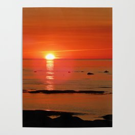 Kayaker and the Setting Sun Poster