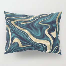 Teal Navy Blue Gold Marble #1 #decor #art #society6 Pillow Sham