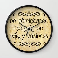 gondor Wall Clocks featuring No admittance except on party business by Augustinet