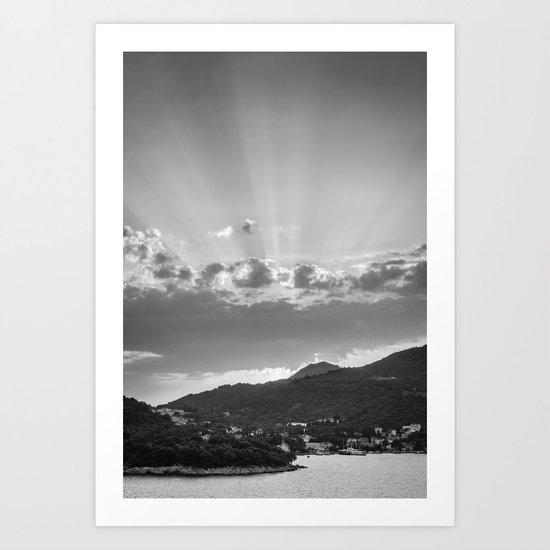 Dubrovnik Beams BW Art Print