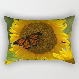 The butterfly the bee and the sunflower Rectangular Pillow