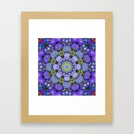 Garden mosaic kaleidoscope mandala - cool blues 2 Framed Art Print