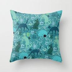 Floral cats, blue Throw Pillow