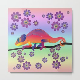 Rainbow chameleon Metal Print