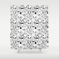 skulls Shower Curtains featuring Skulls by Fran Court