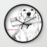 golden retriever Wall Clocks featuring Golden Retriever Morning by Syndi Smilez Studios