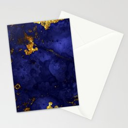Gold Blue Indigo Malachite Marble Stationery Cards