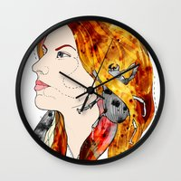 bugs Wall Clocks featuring bugs by Dagmara Jagodzinska