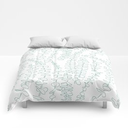 Round Eucalyptus Leaf Toss in White + Sage Comforters