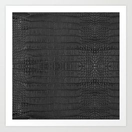 Alligator Black Leather Art Print
