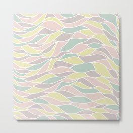Pastel yellow green coral pink abstract geometric waves Metal Print