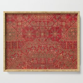 Bohemian Medallion II // 15th Century Old Distressed Red Green Colorful Ornate Accent Rug Pattern Serving Tray