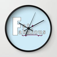 fat Wall Clocks featuring Fat + Fabulous by Jessica Slater Design & Illustration