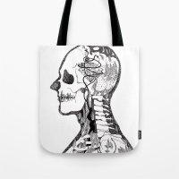 gorillaz Tote Bags featuring Demon Days ~ A. by Sára Szabó