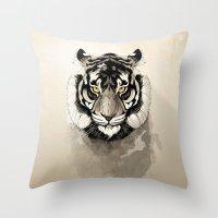 tiger Throw Pillows featuring Tiger by Rafapasta