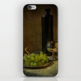 Still life with wine and green grapes iPhone Skin