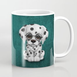 Dalmatian Puppy Wearing Reading Glasses on Blue Coffee Mug