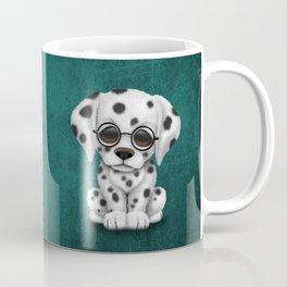 Dalmatian Puppy Wearing Reading Glasses on Blue Coffee Mug
