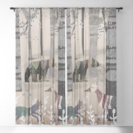 Forest in Sweater Sheer Curtain