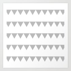 TRIANGLE BANNERS (Gray) Art Print