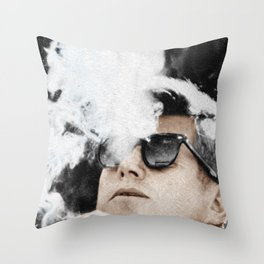 JFK Cigar and Sunglasses Cool President Photo Photo paper poster Color Throw Pillow