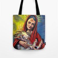 occult Tote Bags featuring Portrait - Occult Madoona with Baphomet Goat Child  by Len Danovich