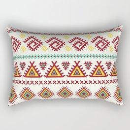 Vintage burgundy green yellow geometrical tribal aztec Rectangular Pillow