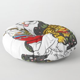Cat eating Chinese Noodles with Tiger Tattoo Floor Pillow