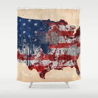 america Shower Curtains featuring america map  by mark ashkenazi