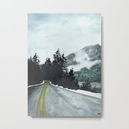 vancouver island // watercolor landscape canada snow mountain road roadtrip Metal Print