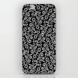 black and white swirls iPhone Skin