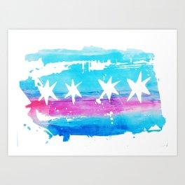 Chicago Flag Single Pull Art Print