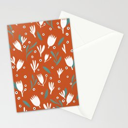Red and White Floral Stationery Cards