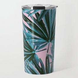 Tropical Palm Leaves in Botanical Green + Pink Travel Mug