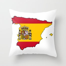 Spain Map with Spanish Flag Throw Pillow