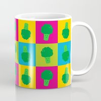 popart Mugs featuring Popart Broccoli by XOOXOO