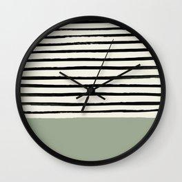 Sage Green x Stripes Wall Clock