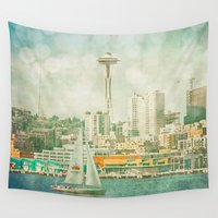 seattle Wall Tapestries featuring Seattle Skyline by Sparrow House Photography
