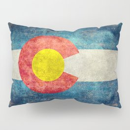 Colorado State Flag in Vintage Grunge Pillow Sham