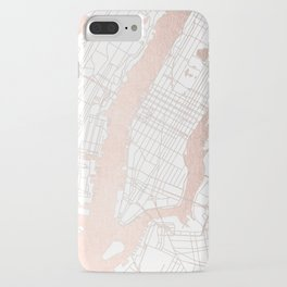 New York City White on Rosegold Street Map iPhone Case