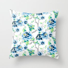 Chinoiserie Ming style Blue Floral on White Pattern Spring Flowers Shabby Chic Throw Pillow