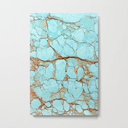 Cracked Turquoise & Rust Metal Print
